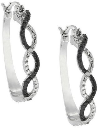 Diamond Silver Overlay Accent Black and White Infinity Hoop Earrings