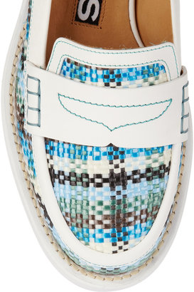 Rochas Leather-trimmed raffia loafers