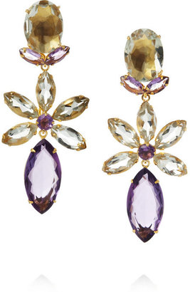 Bounkit Gold-plated amethyst clip earrings