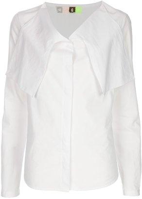 MSGM Long sleeve drape neck shirt