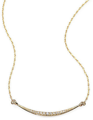 Mizuki Diamond and 14K Yellow Gold Crescent Necklace