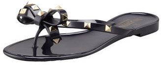 Valentino Rockstud PVC Thong Sandal, Black
