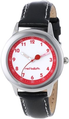 EWatchFactory Red Balloon Kids' W000197 Black Leather Strap Stainless Steel Time Teacher Watch