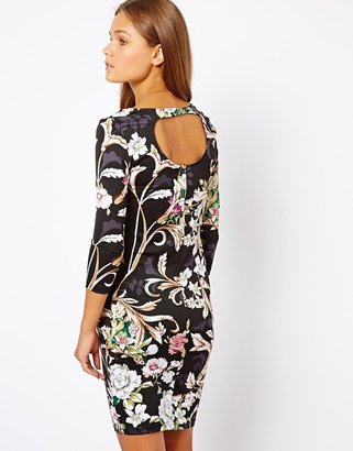 Vero Moda Body Con Dress With Key Hole Back In Floral Print