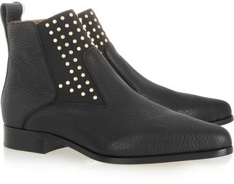 Chloé Studded textured-leather ankle boots
