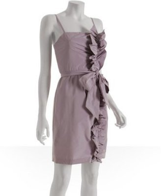 BCBGMAXAZRIA lavender poly taffeta ruffled detail dress