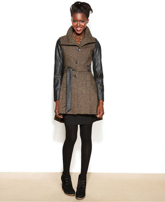 Steve Madden Faux-Leather-Sleeve Belted Tweed Coat