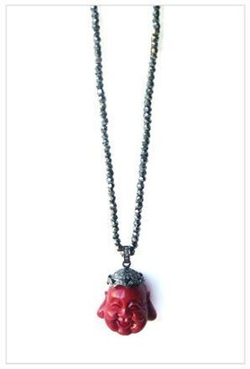 The Woods Pyrite Bead Necklace with Diamond Crowned Buddha in Dark Fuschia