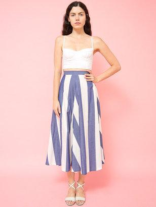 Norma Kamali Vintage Chevron Stripe Mid-Length Skirt
