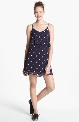 dee elle Polka Dot Ruffle V-Back Dress (Juniors)