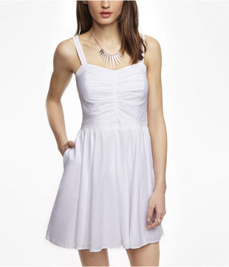 Express Ruched Fit And Flare Dress