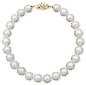 "Belle de Mer Pearl Bracelet, 7-1/2"" 14k Gold A Cultured Freshwater Pearl Strand (6-7mm)"
