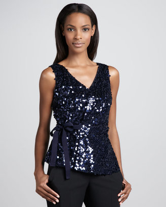 T Tahari Grahm Sequined Bow-Tie Blouse