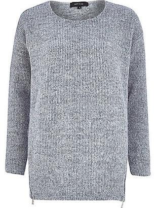 River Island Womens Grey fluffy zip trim sweater