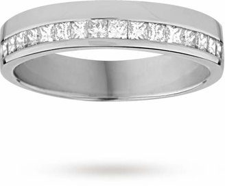 Goldsmiths Princess cut 0.33 total carat weight diamond ladies wedding ring set in 9 carat white gold