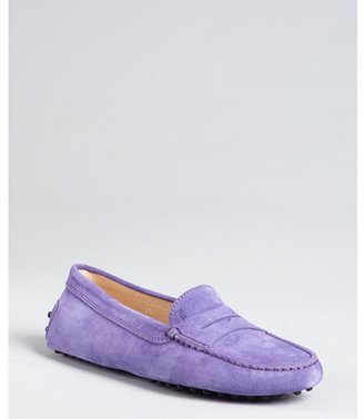 Tod's ultraviolet suede penny loafers