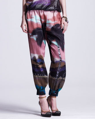 Lanvin Tropical-Print Elastic-Cuffed Pants