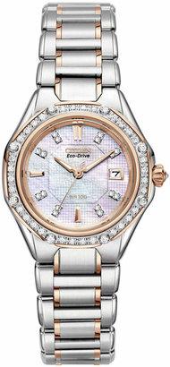 Citizen Women Signature Octavia Eco-Drive Diamond (1/2 ct. t.w.) Two Tone Stainless Steel Bracelet Watch 29mm EW2096-57D