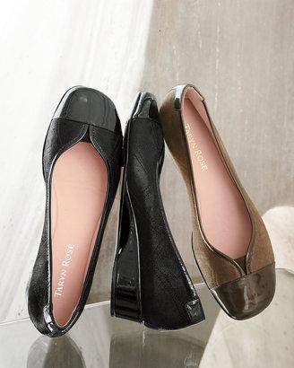Taryn Rose Kenna Cap-Toe Ballerina Flat, Black