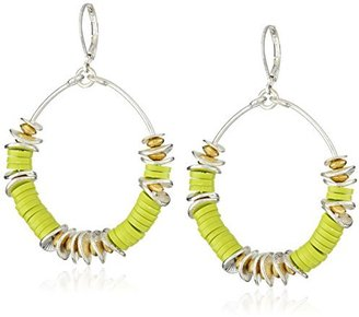 "Kenneth Cole New York Urban Citrus"" Lime Green Bead Circle Drop Earrings"
