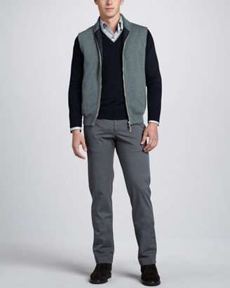 Ermenegildo Zegna Long-Sleeve Classic Stripe Sport Shirt, Sage Navy
