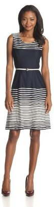 Anne Klein Women's Ombre-Stripe Flare Dress