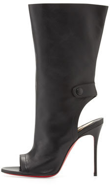 Christian Louboutin Mistinguetre Peep-Toe Mid-Calf Boot, Black
