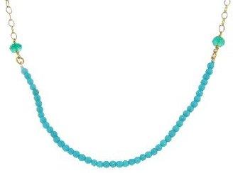 Cathy Waterman Fine Turquoise Bead Tiny Lacy Chain - 22 Karat Gold