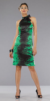 Dave and Johnny Black and Green Print Dresses