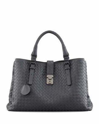 Bottega Veneta Roma Medium Woven Compartment Tote Bag, Charcoal $3,750 thestylecure.com