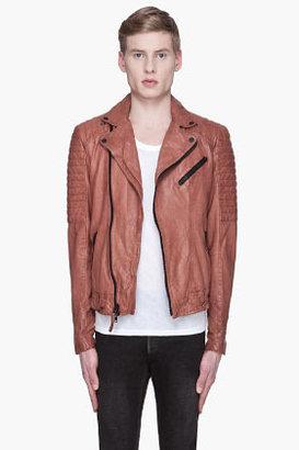 Mackage Brick brown Nickson distressed leather biker jacket