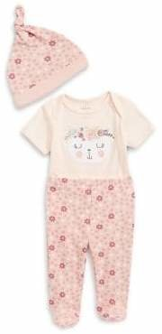 Chick Pea Baby Girl's 3-Piece Floral Cotton Beanie, Bodysuit Footed Pants Set