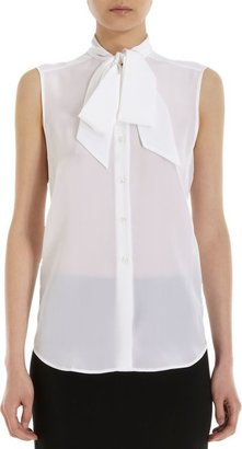 Barneys New York Tie-Neck Sleeveless Blouse-White