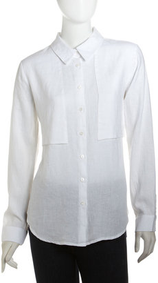 Isda & Co Linen Button-Down Blouse, White
