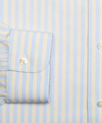 Brooks Brothers Supima® Cotton Non-Iron Extra-Slim Fit Button-Down Broadcloth Hairline Double Stripe Dress Shirt