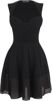 Alexander McQueen Black Exposed Bustier Mini-Dress