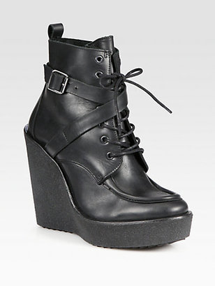 Pierre Hardy Lace-Up Leather Moto Wedge Ankle Boots