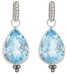 Jude Frances Large Blue Topaz Pear Earring Charms - White Gold