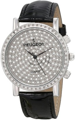 Peugeot Couture J6369SBK Pave Dial Black Leather Watch