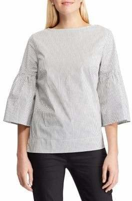 Chaps Striped Bell-Sleeve Top
