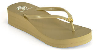 Tory Burch Thin Wedge Flip Flop - Khaki Wedge Rubber Thong Sandal