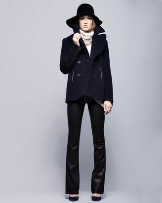 Intermix Menchi For Leather Detail Everyday Peacoat