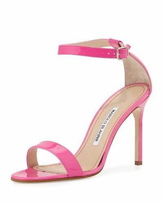 Manolo Blahnik Chaos Patent High-Heel Sandal, Pink $725 thestylecure.com
