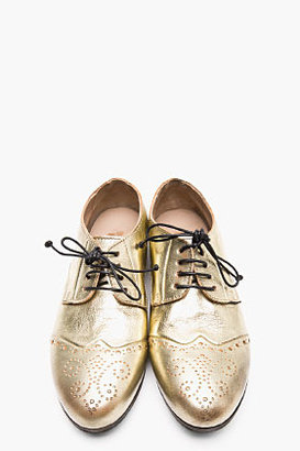 Marsèll Metallic Gold Leather Brogues