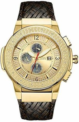 """JBW Men's JB-6101L-E""""Saxon"""" Luxury Water Resistant Gold-Plated Braided Brown Leather Diamond Watch"""