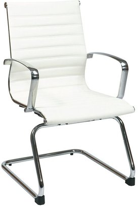 Office Star Products Eco-Leather White Visitor's Chair