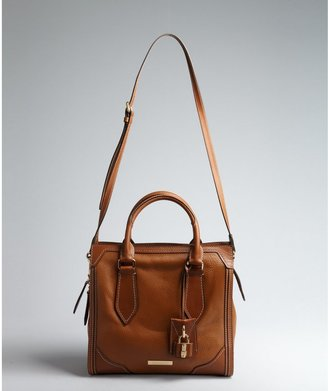 Burberry Tan Grained Leather Square Convertible Satchel