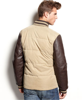 Sean John Jacket, Quilted Varsity Polyurethane-Sleeve Jacket