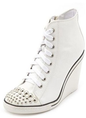 Charlotte Russe Studded Toe Lace-Up Wedge Sneaker