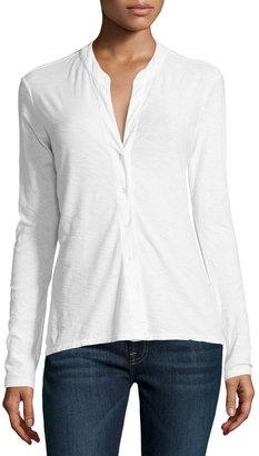 James Perse Slouchy Button-Front Slub-Knit Blouse, White